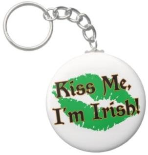 2.25 Inch Kiss Me Im Irish Button Keychain (Style 2)