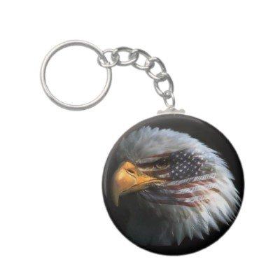 2.25 Inch American Bald Eagle W/US Flag Button Keychain