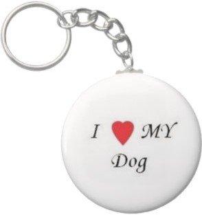 2.25 Inch I Love My Dog Button Keychain