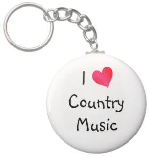 2.25 Inch I Love Country Music Keychain