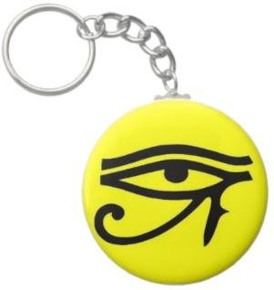 2.25 Inch Egyptian Eye of Ra Button Keychain