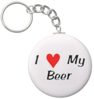 2.25 Inch I Love My Beer Button Keychain