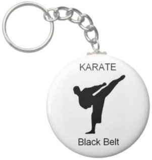 2.25 Inch Karate Blackbelt Button Keychain