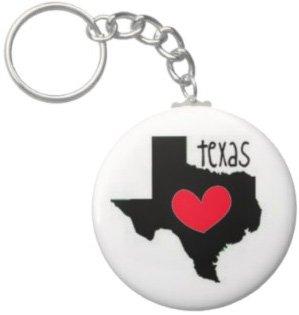 2.25 Inch Texas W\ Red Heart Keychain
