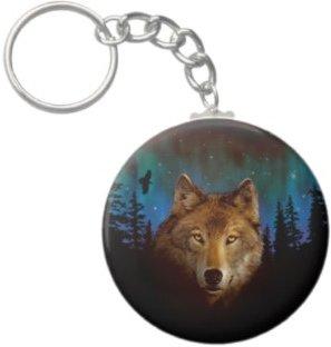 2.25 Inch Northern Lights Wolf Keychain