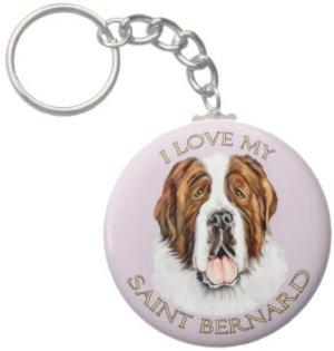 2.25 Inch I Love My St Bernard Keychain
