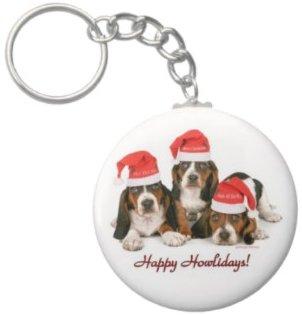 2.25 Inch Bassett Hound Santa Christmas Keychain