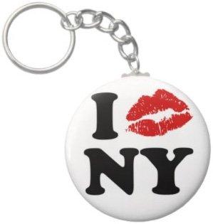 2.25 Inch I Kiss Love NY Keychain