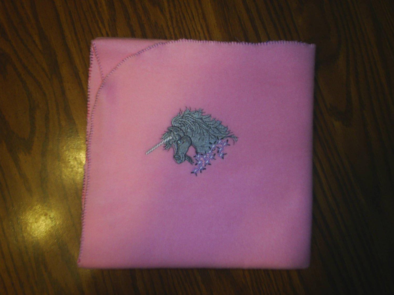 Pink Unicorn Embroidered Baby Blanket