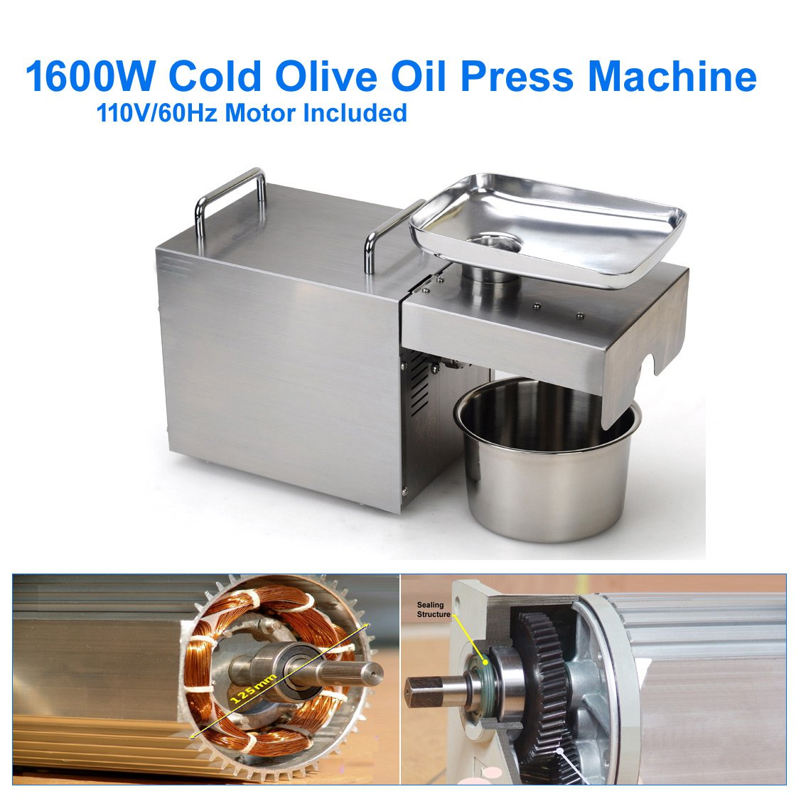 Cold Seeds Oil Press Machine - 1600W  NEWEST Electric Seed Oil Press Mill [8-15 lbs/ hr]