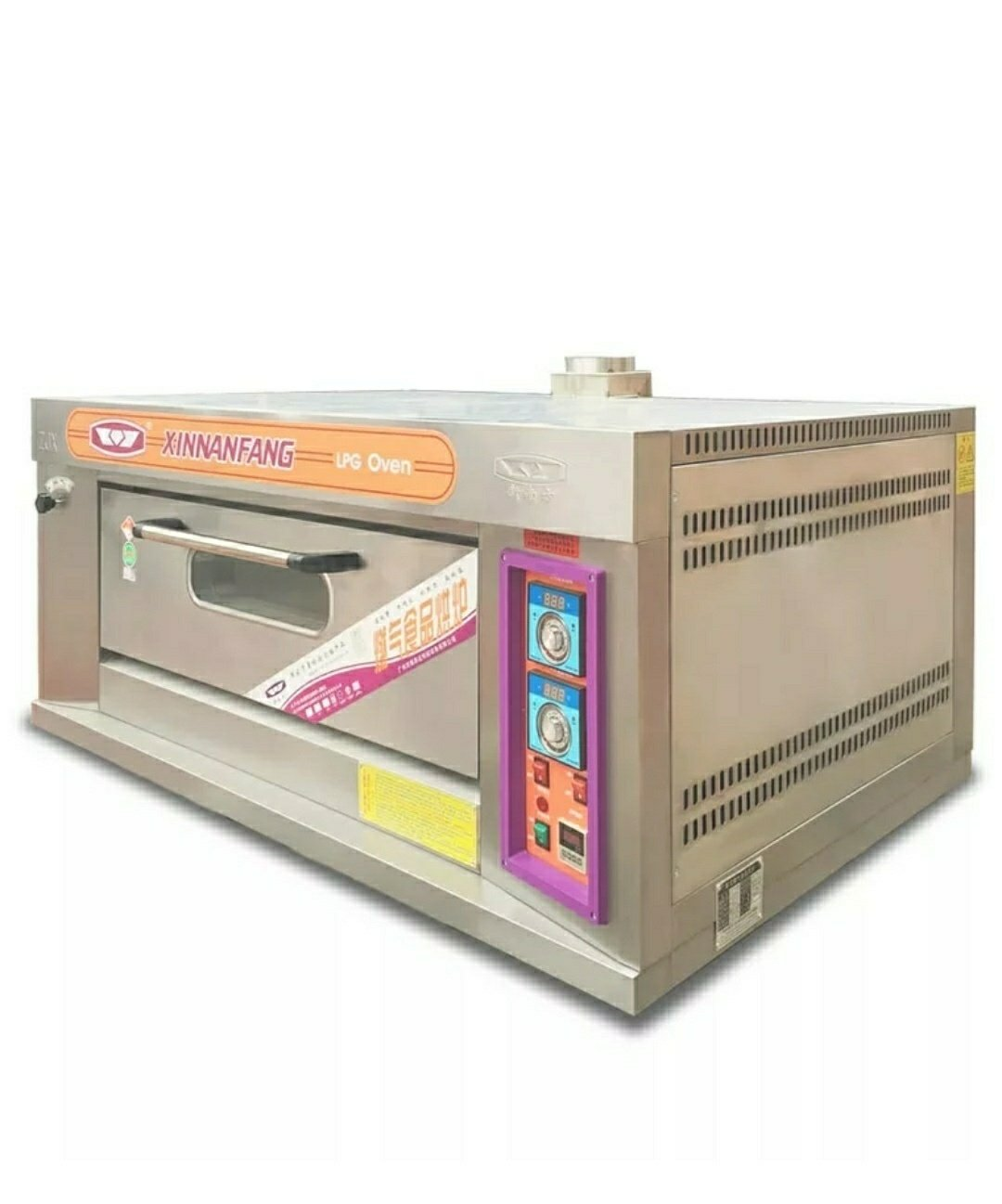 Gas Roasting / Baking Deck Type Oven, 1 Deck 2 Trays, Stainless Steel