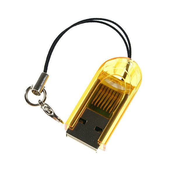 FREE SHIPPING Smallest MicroSD TransFlash USB Card Reader with Cover (Yellow)