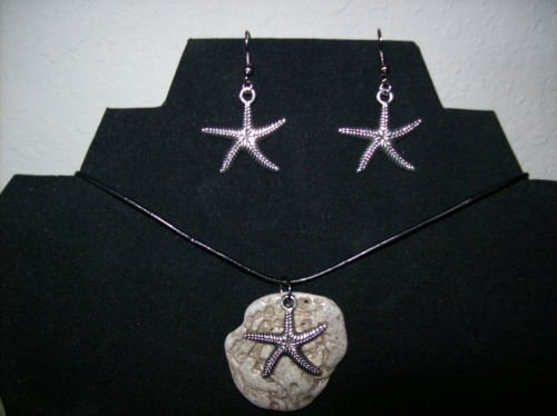 Handmade Beach Stone Necklace and Earrings Set with Leather Cord + FREE Gift Bag