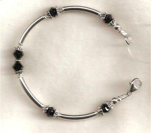 Sterling Silver Noodle Bracelet with Jet Swarovski Crystals