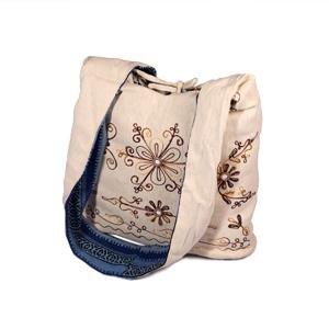 Pin Stripe / White Cotton Reversible Bag