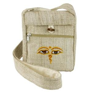 Hemp Fabric Passport Bag- Nat. - No Embroidered