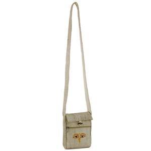 Embroidered Hemp Fabric Passport Bag-Yellow Eyes
