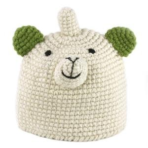 kids crochet cap fox half fleece line