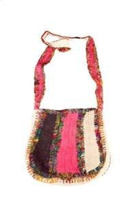 Hemp & Silk Semi Round Patch Shoulder Bag