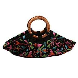 Kashmir Wool Crewel Work Bag Large w Wood Handle