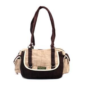 Hemp Shoulder Bag Brown w/ Natural Trim