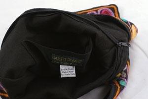 Kashmir Wool Crewel Work Bag Medium Shoulder Strap - Black
