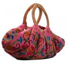 Kashmir Wool Crewel Work Bag Large w Wood Handle - Pink
