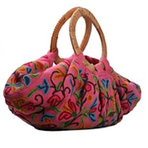 Kashmir Wool Crewel Work Bag Large w Wood Handle - Pink