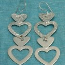Sterling Silver 4 Hearts Dangle Earrings .925 From Taxco, Mexico