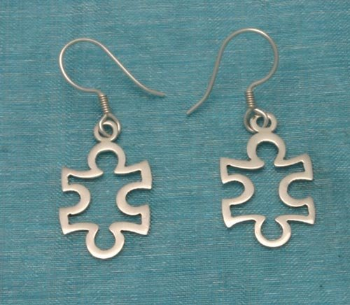 Sterling Silver Puzzle Pice Dangle Earrings .925 From Taxco, Mexico