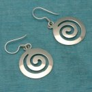 Sterling Silver Round Dangle Earrings .925 From Taxco, Mexico