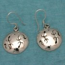Sterling Silver Round Deco Dangle Earrings From Taxco, Mexico .925