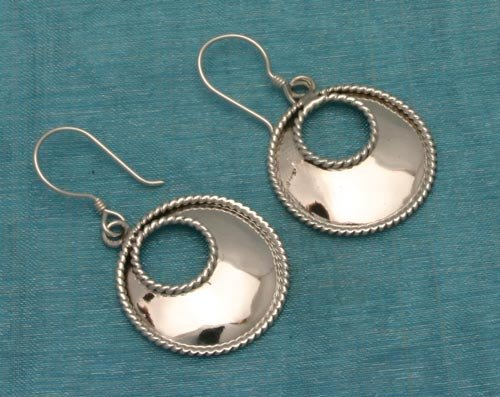 Mexican Sterling Silver Loop Dangle Earrings From, Taxco, Mexico .925