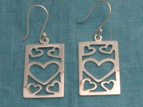 Sterling Silver Dangle Heart Earrings From Taxco Mexico