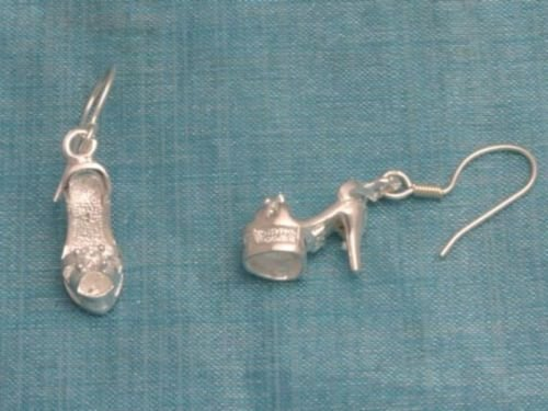 Mexican Sterling Silver Dangle Shoes Earrings Taxco