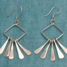 Sterling Silver Dangle Squared Earrings Taxco Mx .925