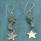 Sterling Silver Dangle Star & Moon Earrings Taxco .925