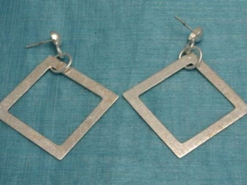 Mexican Sterling Silver Dangle Squared Earrings Taxco