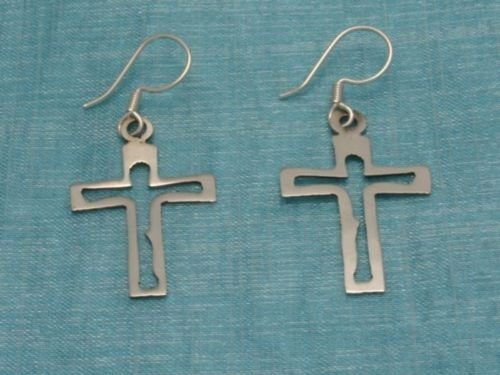 Sterling Silver Cross Earrings From Taxco Mexico .925