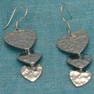 Mexican Sterling Silver 3 Hearts Dangle Earrings Taxco