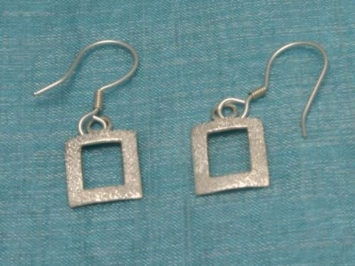 Mexican Sterling Silver Squared Dangle Earrings Taxco