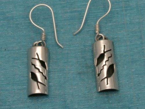 Sterling Silver Dangle Fish Design Earrings Taxco 925