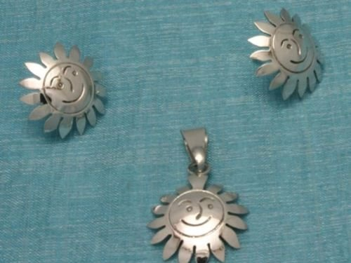 Sterling Silver Sun Deco Studs & Pendant Set .925 Taxco