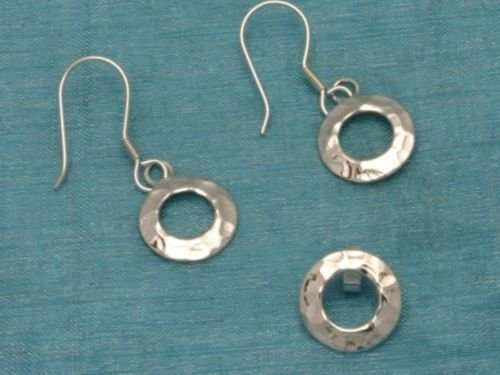 Sterling Silver Dangle Round Earrings & Pendant Set 925