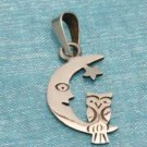 Sterling Silver Small Moon & Owl Pendant .925 Taxco Mx