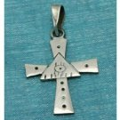 Sterling Silver Small Cross Pendant All Seeing Eye .925