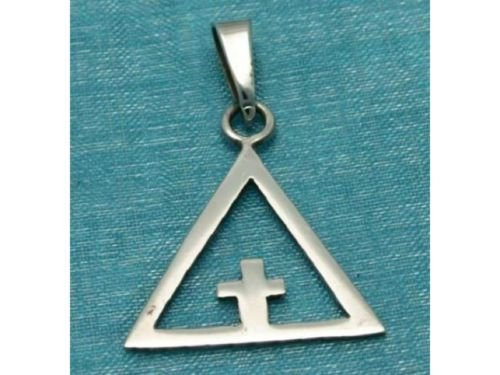 Sterling Silver Small Pyramid With Cross Pendant .925