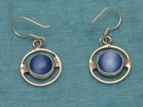 Sterling Silver Dangle Earrings Blue Stone From Taxco