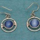 Sterling Silver Dangle Earrings Blue Stone From Taxco