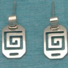 Sterling Silver Mayan Design Dangle Earrings Mexico 925